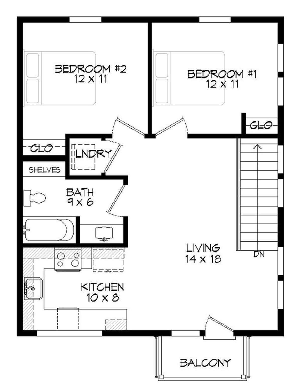 House Plan 94000043 Modern Plan 820 Square Feet, 2