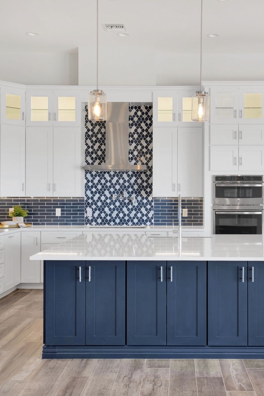 We Love Color White Kitchen Cabinets And A Blue Kitchen Island In