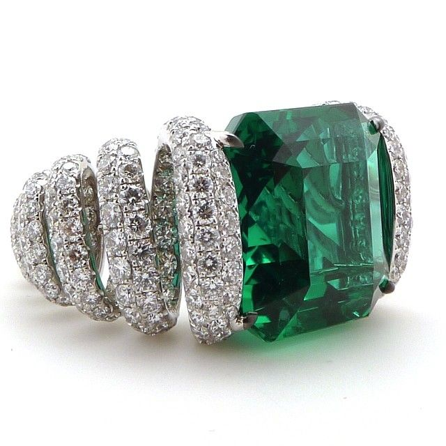 "New from the G London workshop. The ""Spring"" ring set with a 10.50ct Colombian Emerald & 490 Diamonds #Glennspiro"