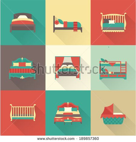 creative furniture icons set flat design. Vector Bed Icon Set Creative Furniture Icons Flat Design