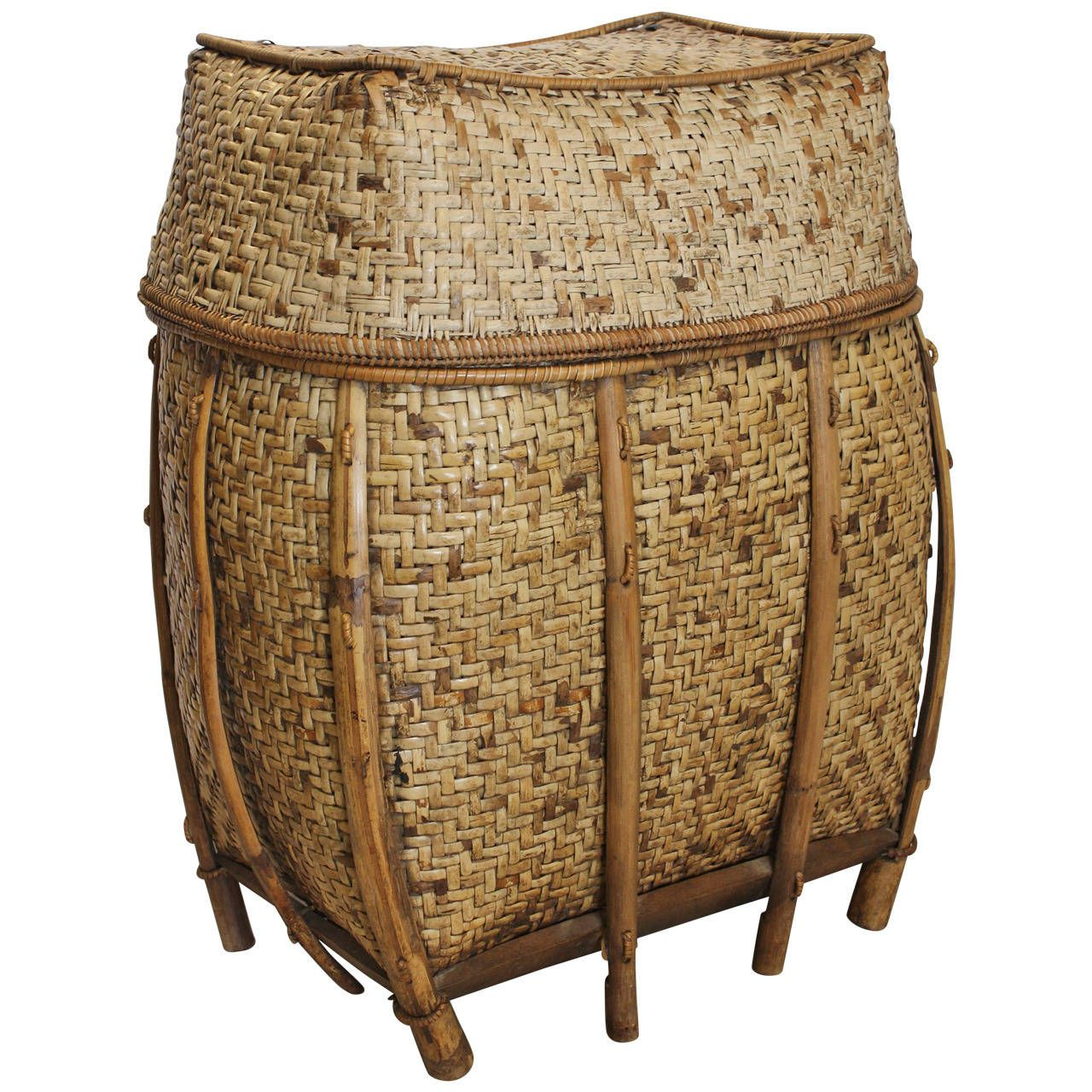 Large Decorative Asian Woven Basket   From a unique collection of antique and modern baskets at https://www.1stdibs.com/furniture/more-furniture-collectibles/baskets/