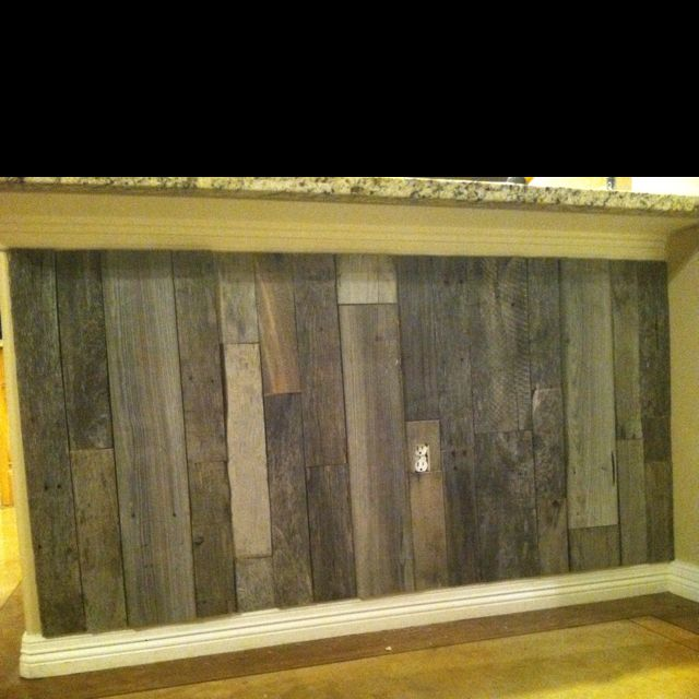 Pallet Wood Under The Bar For A Kick Plate Basement Makeover Kitchen Island Kick Plate