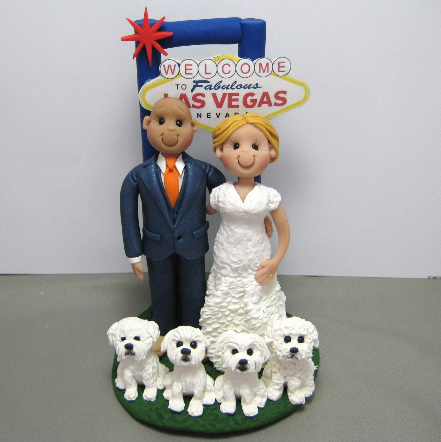 Reserved For Sarah Balance Due Custom Las Vegas Wedding Cake Topper With Dogs By Clayinaround