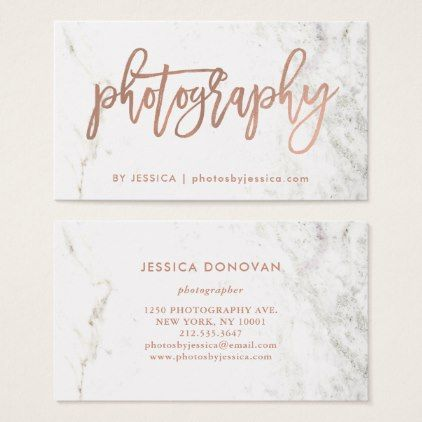 Rose gold script on white marble photography business card rose gold script on white marble photography business card photography gifts diy custom unique reheart Image collections