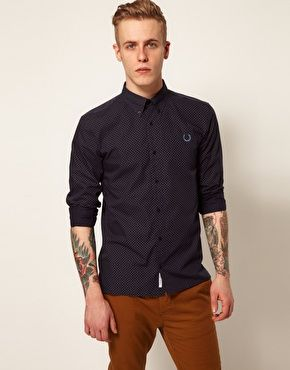 78de430b3ccc Fred Perry Laurel Wreath Shirt with Circle Print in Navy. Perfect with the  pants. Find your Inspiration @ #DapperNDame Pinterest. dapperanddame.com