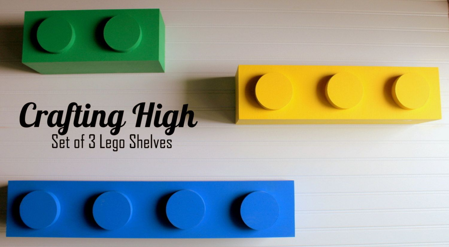 Lego Inspired Set Of 3 Lego Inspired Shelves Chase Lego Bedroom