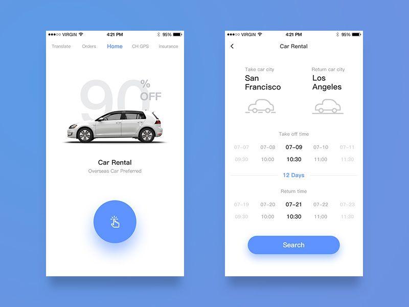 Car rental redesign | About work's APP UI | Car app, App ui