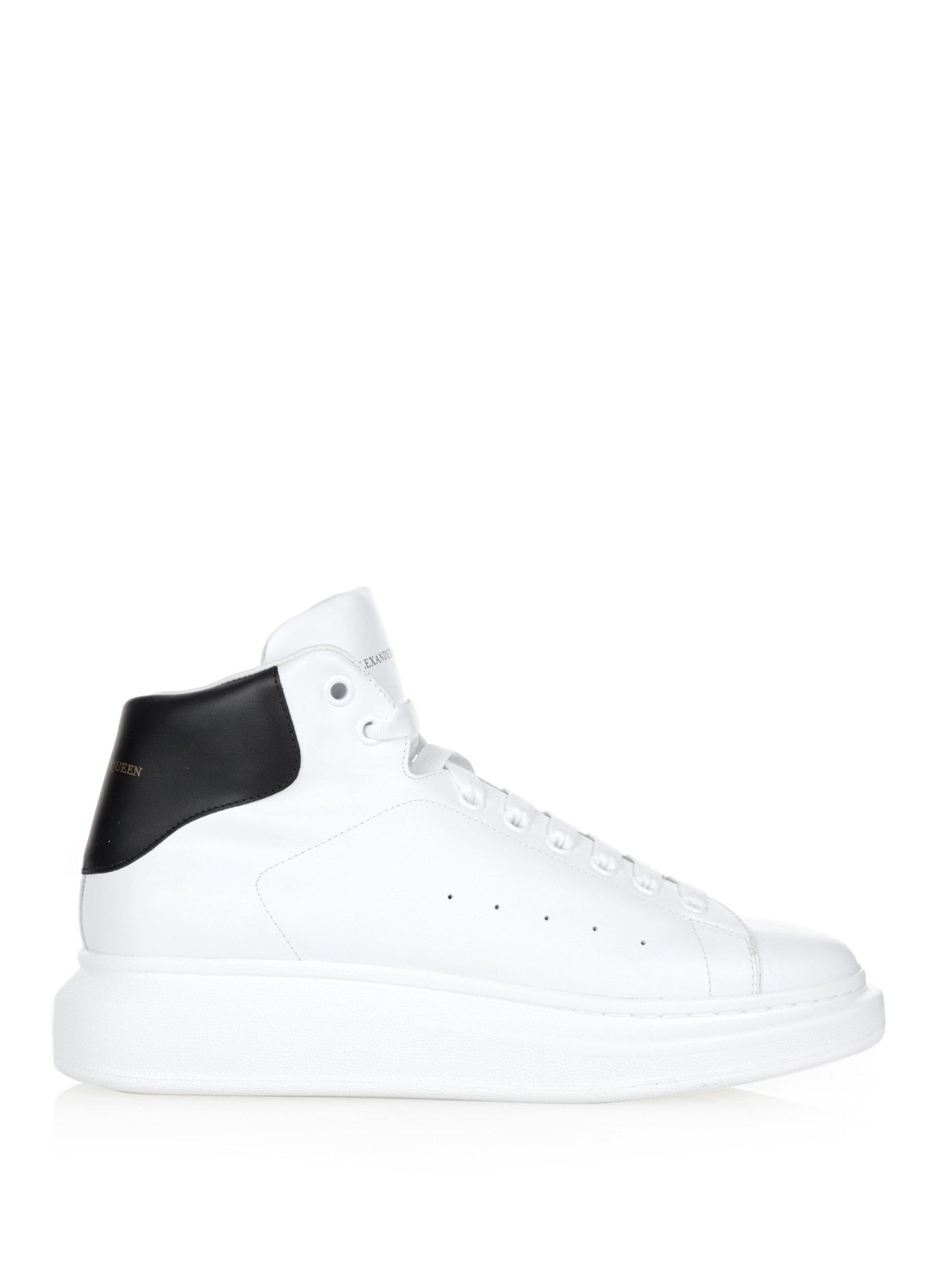 Raised-sole high-top leather trainers