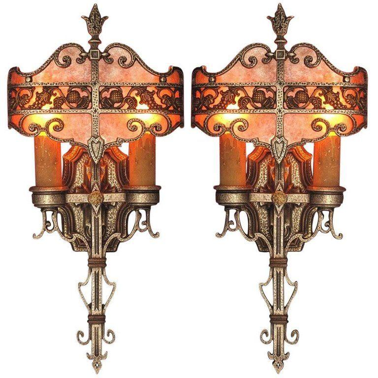 1920s 1930s Tudor Revival Style Sconces Original Finish Vintage Wall Lights Sconces Wall Lights