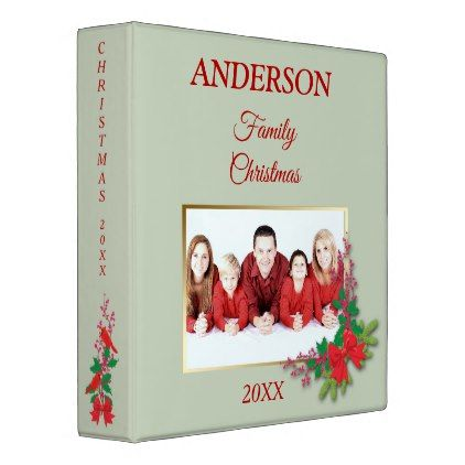 Red Bow Holly Family Christmas Photo Template Binder Family - household spreadsheet templates