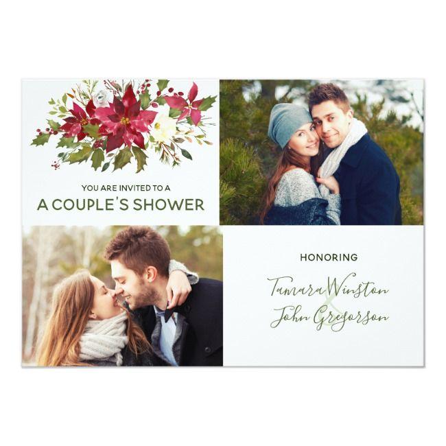 Photo Poinsettia Greenery Christmas Couples Shower Invitation |  Photo Poinsettia Greenery Christmas Couples Shower Invitation