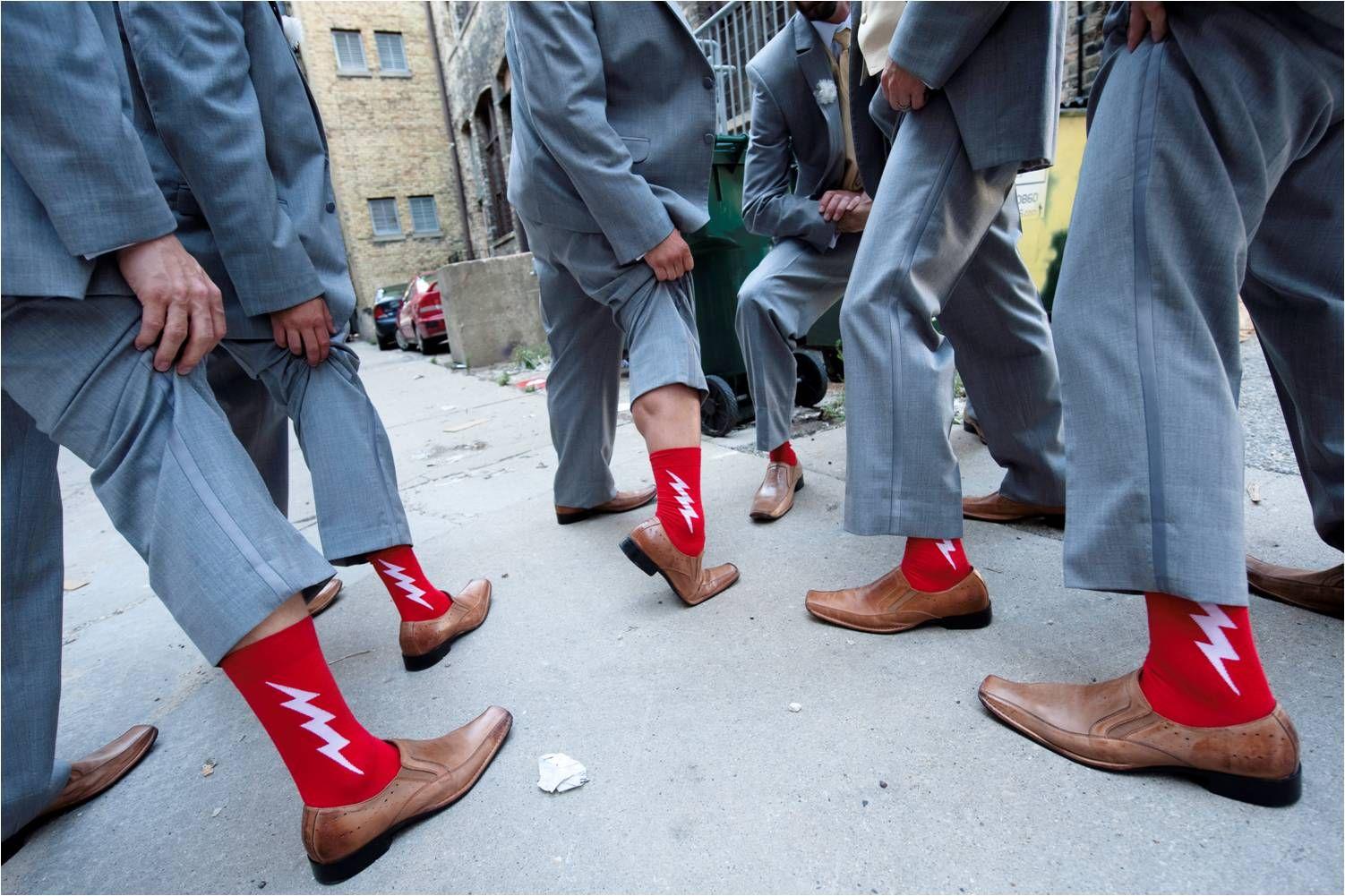 Groomsmen Wear Grey Suits Show Off Funky Red Socks