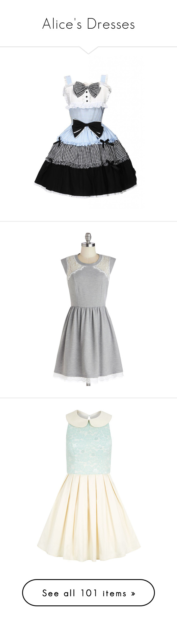 """Alice's Dresses"" by disneydressing ❤ liked on Polyvore featuring dresses, lolita, modcloth, grey, apparel, fashion dress, multi color dress, mid length dresses, lace dress and grey dress"