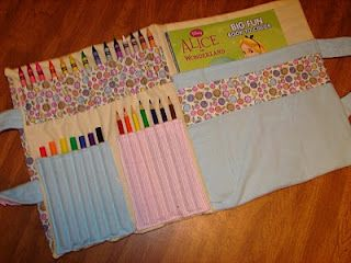 a cool sewn coloring book colored pencil or crayon holder - Coloring Book And Crayon Holder