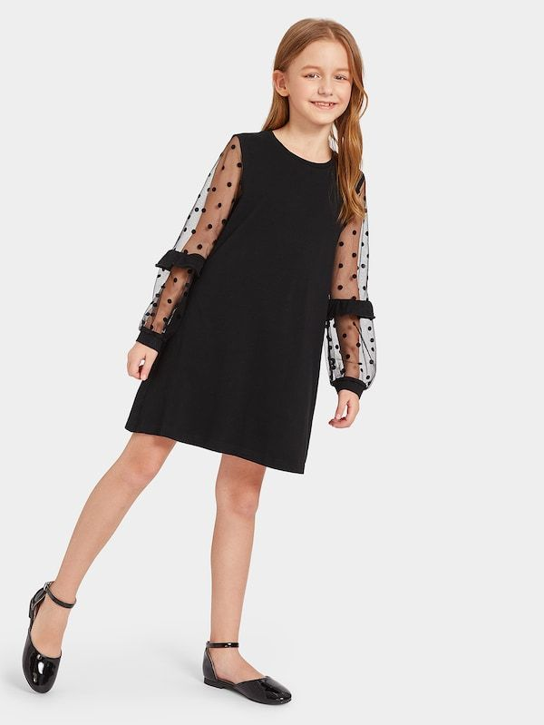 Girls Dot Mesh Lantern Sleeve Dress -SHEIN(SHEINSIDE)
