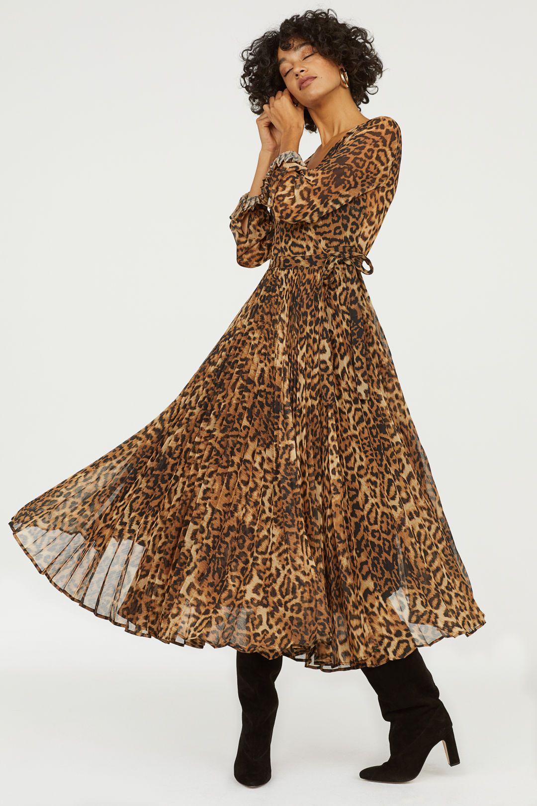 48f725f535738ca Плиссированное платье - Коричневый/Леопардовый принт - Женщины | H&M ...