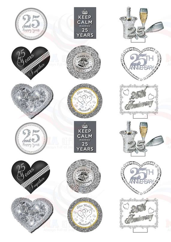 36 X Silver / 25th Wedding Anniversary Party Pack Mix