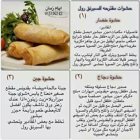 حشوات سبرنج رول Tunisian Food Food Receipes Food Recipies