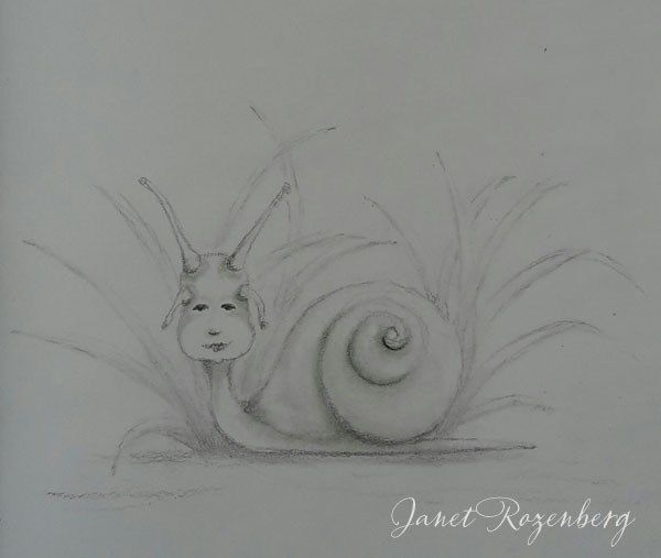 Snail - pencil pastel drawing painting shadowheartchallenge day 20