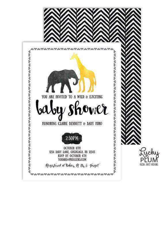Safari Baby Shower Invitation // A modern updated version