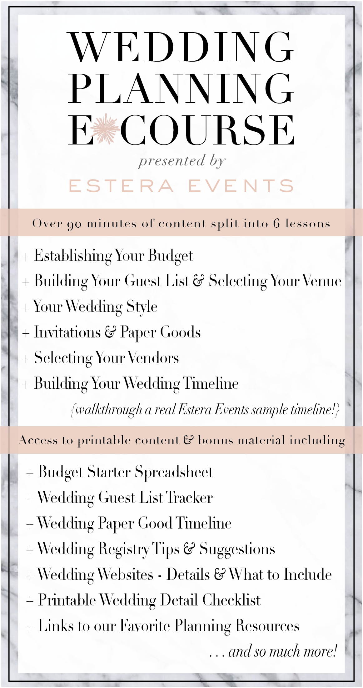 The Estera Events Wedding Planning E Course Is Designed To Give You Access To Useful Tools And Profession How To Plan Wedding Planning Wedding Checklist Budget