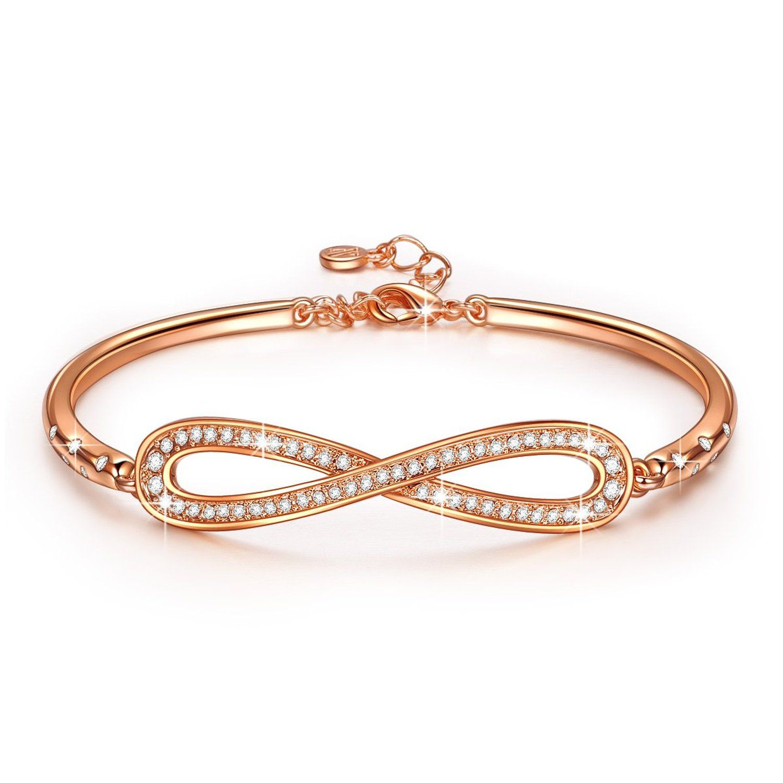 Ladycolour swarovski elements jewelry endless love bangle bracelet