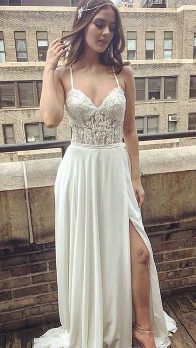 Simple white lace long prom dress white evening so pretty