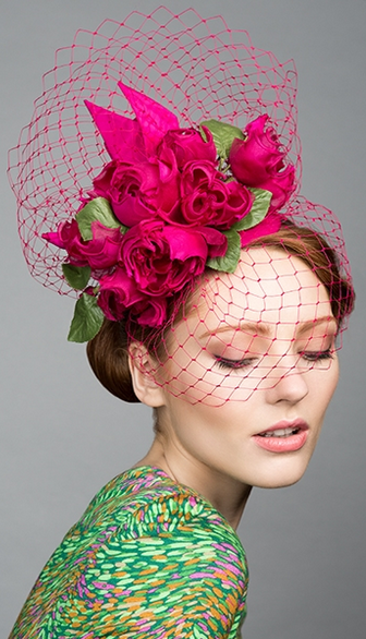Rachel Trevor Morgan, S/S 2015. Pink silk taffeta teardrop with hand made silk roses and veil. #passion4hats #fascinatorstyles