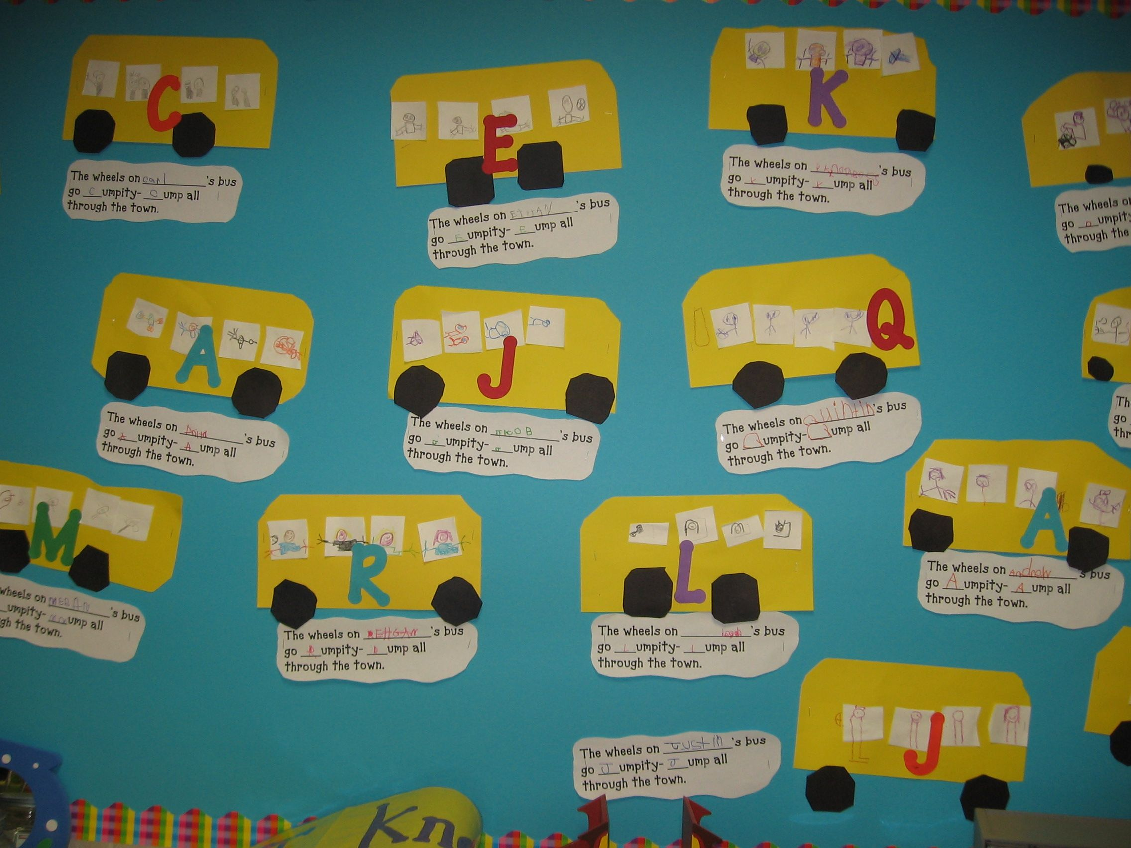 Mrs Jump S Kindergarten Class August Wheels On The Bus Name Letter Activity Bulletin Board