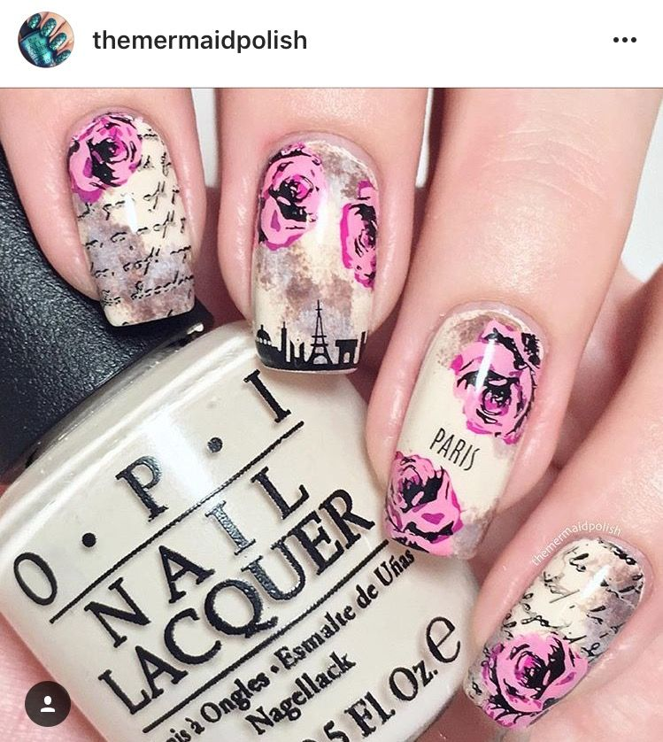 Rose and vintage newspaper nails. Clear jelly stamping plates | Nail ...