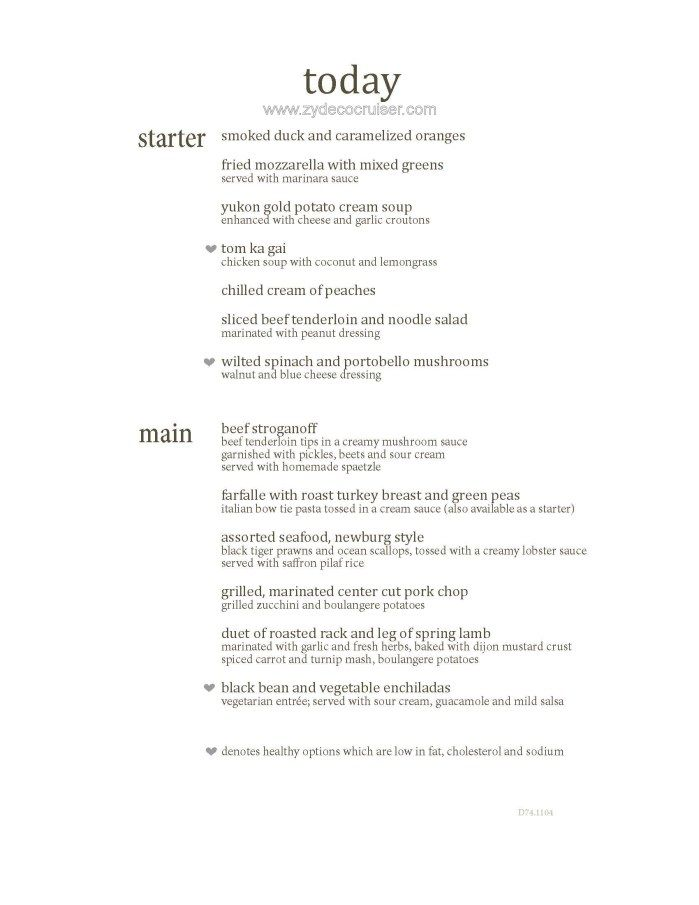 M004 Carnival Magic 12 Day Main Dining Room Dinner Menus Day 2 Amazing Carnival Cruise Dining Room Menu Design Inspiration