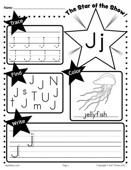 Free Letter J Worksheet Tracing Coloring Writing More