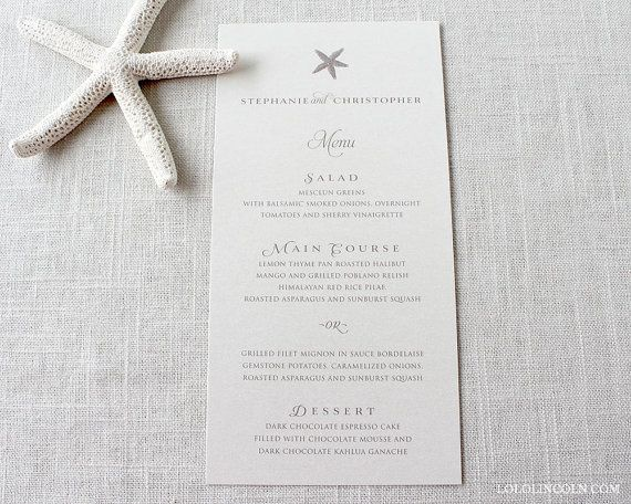 Starfish Classic Style Wedding Menu Cards Sample By Lololincoln
