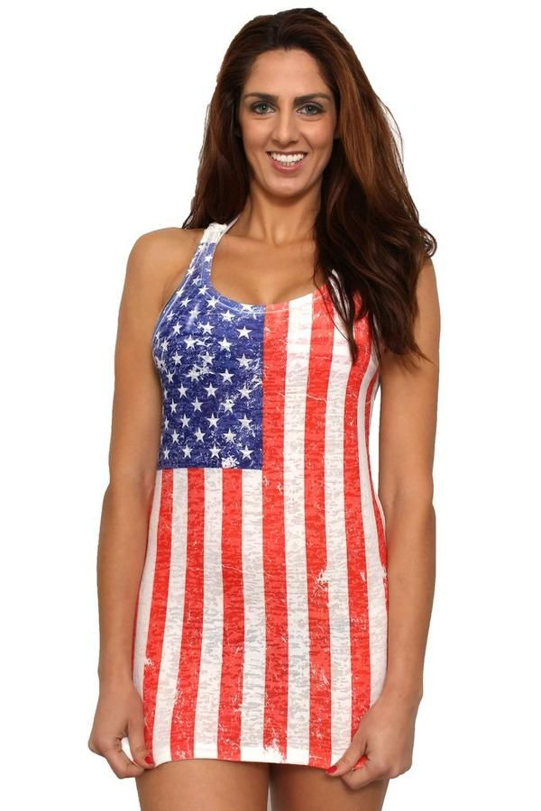 d34fde18fd Shore Trendz Women's USA Distressed Flag Burnout Tank Dress Cover-Up Made  in the USA