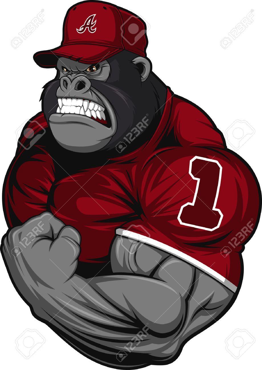 Vector Illustration Terrible Gorilla Professional Athlete On A