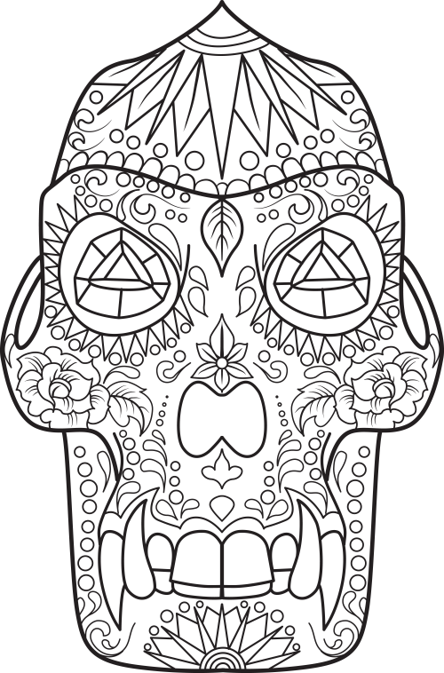Sugar Skull Coloring Page 17