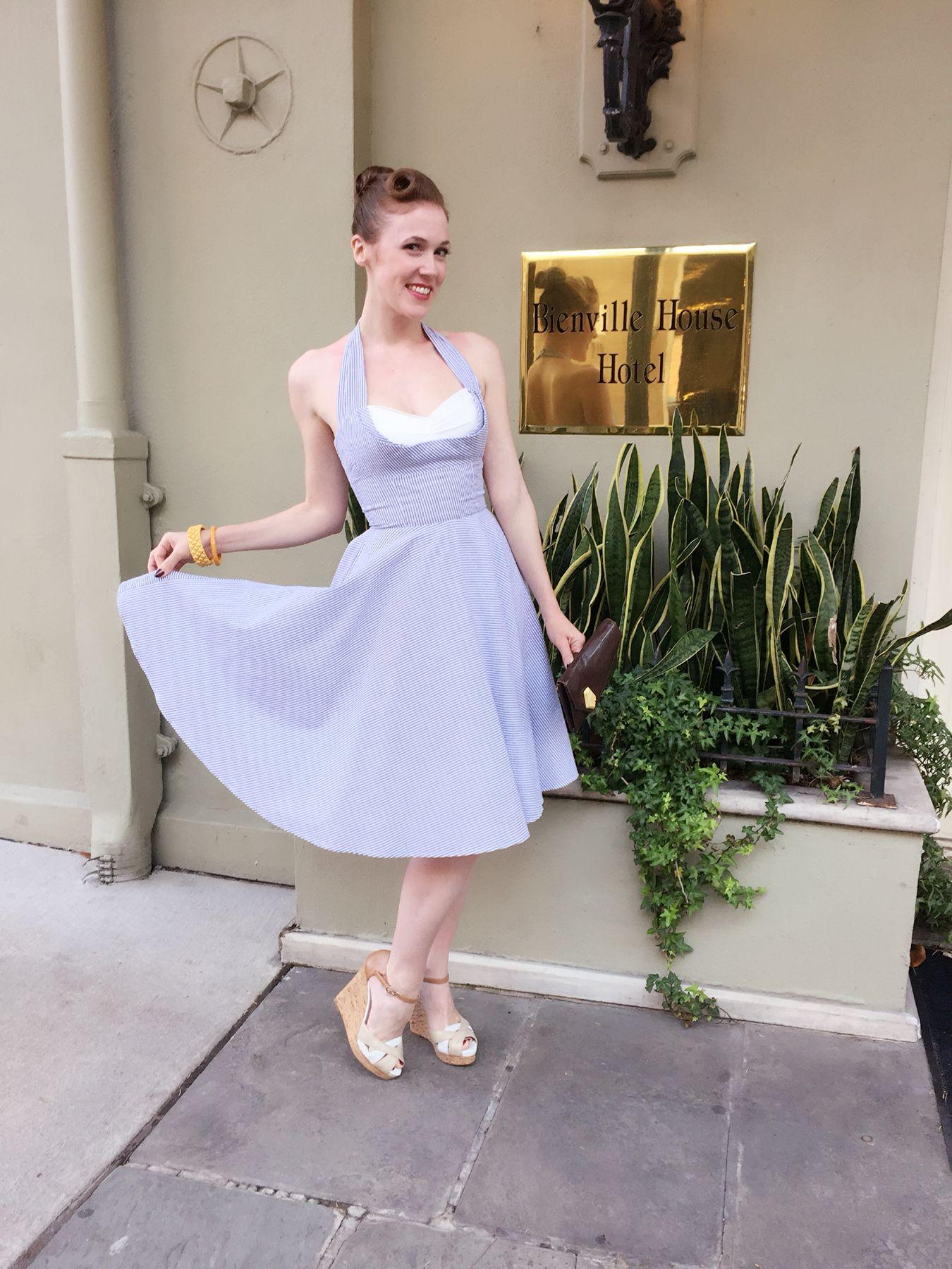 Emily is fabulous in the Seersucker Lena Dress! #trashydiva #trashydivaseersucker #trashydivalenadress
