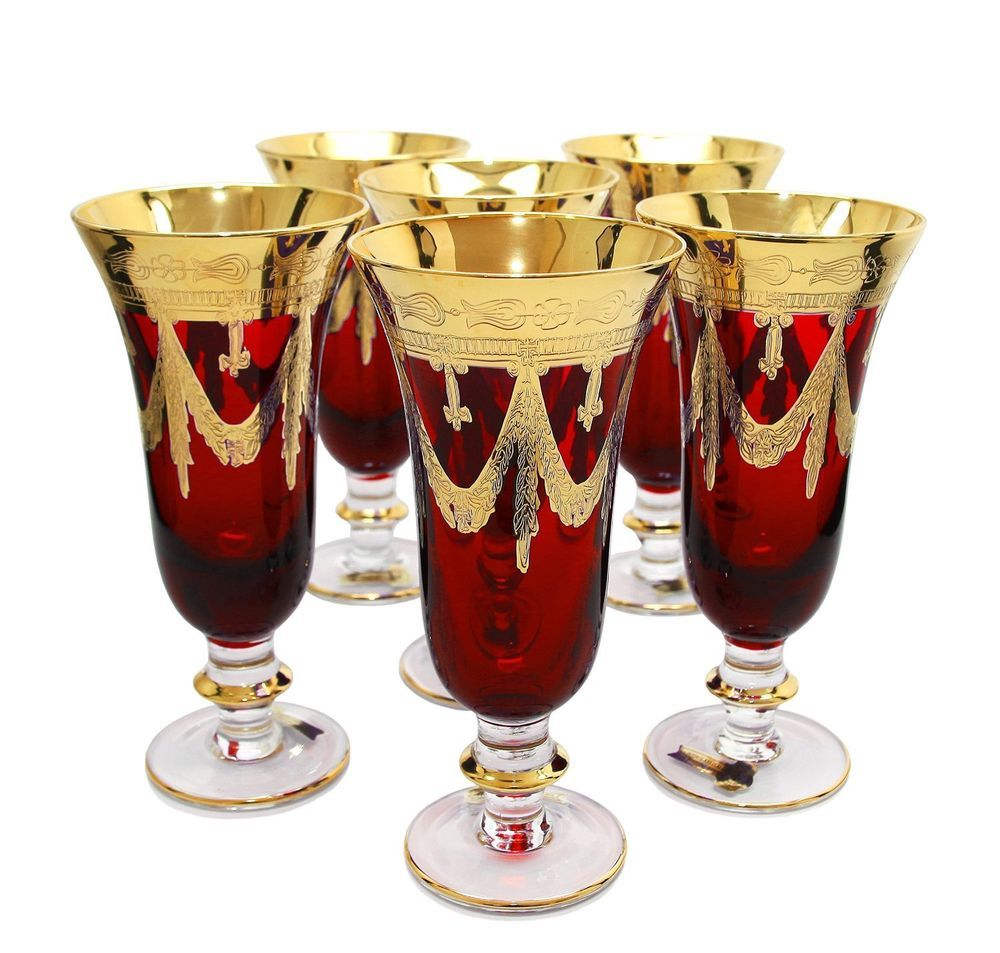 Set Of 6 Red Crystal Champagne Flutes 24k Gold Decorated Vintage Italy 9 Oz Crystal Champagne Flutes Champagne Flutes Crystal Champagne