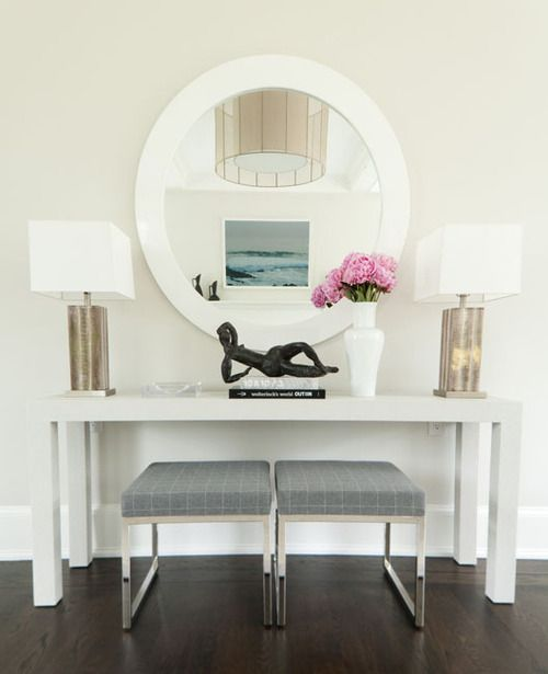 Modern White Foyer Console With Round Mirror And Two Gold