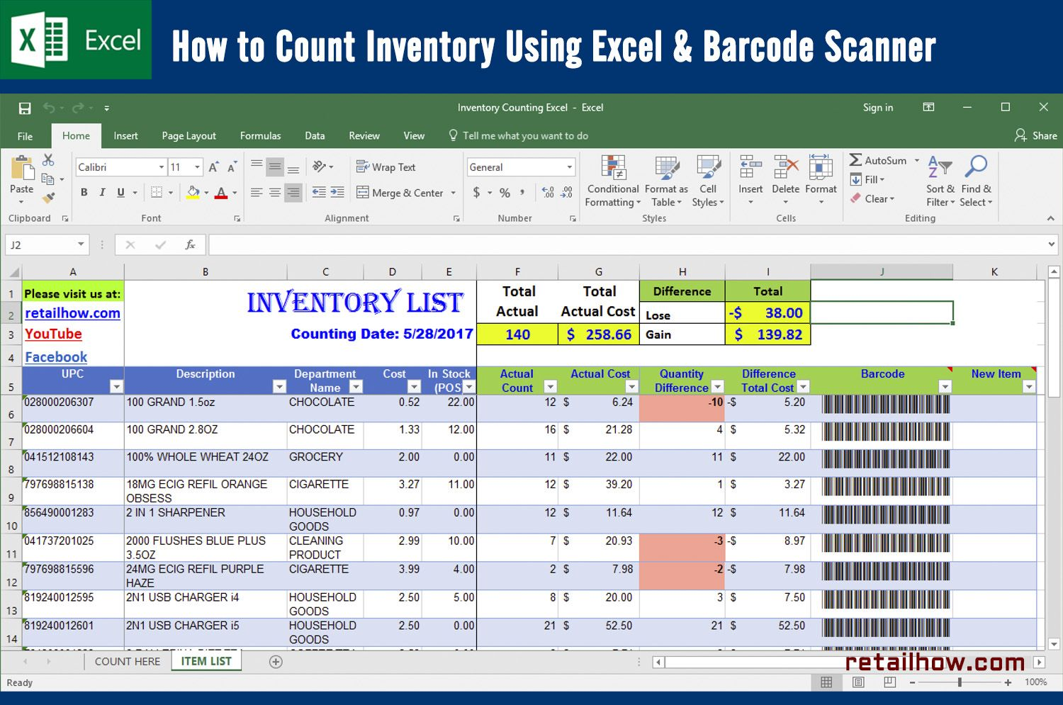How To Count Inventory Using Excel Barcode Scanner Retailhow Excel Inventory Barcode Scanner