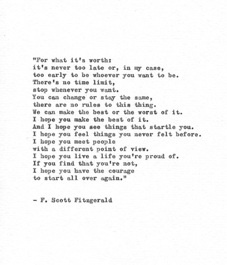 F. Scott Fitzgerald Hand Typed Print 'A Life You A