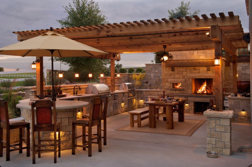 Rustic Patio With Outdoor Kitchen Trellis Exterior Stone