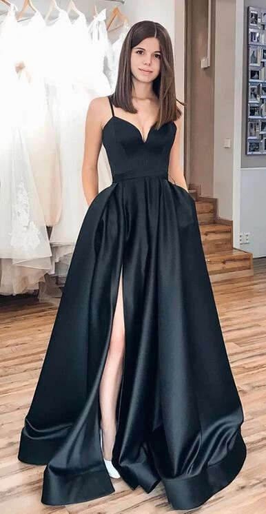 Simple Long Prom Dress with Slit, Popular School Dance Dress ,Fashion Wedding Party Dress PDP0085 #schooldancedresses