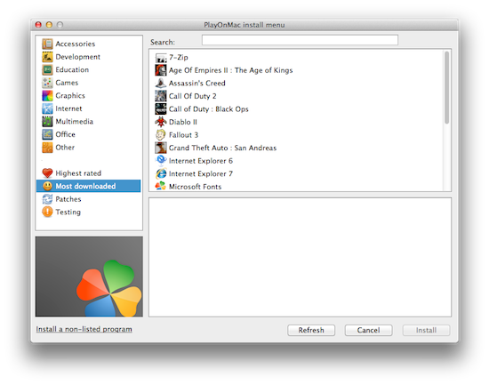 Wine front-end and manager for Mac  Mostly used to play old