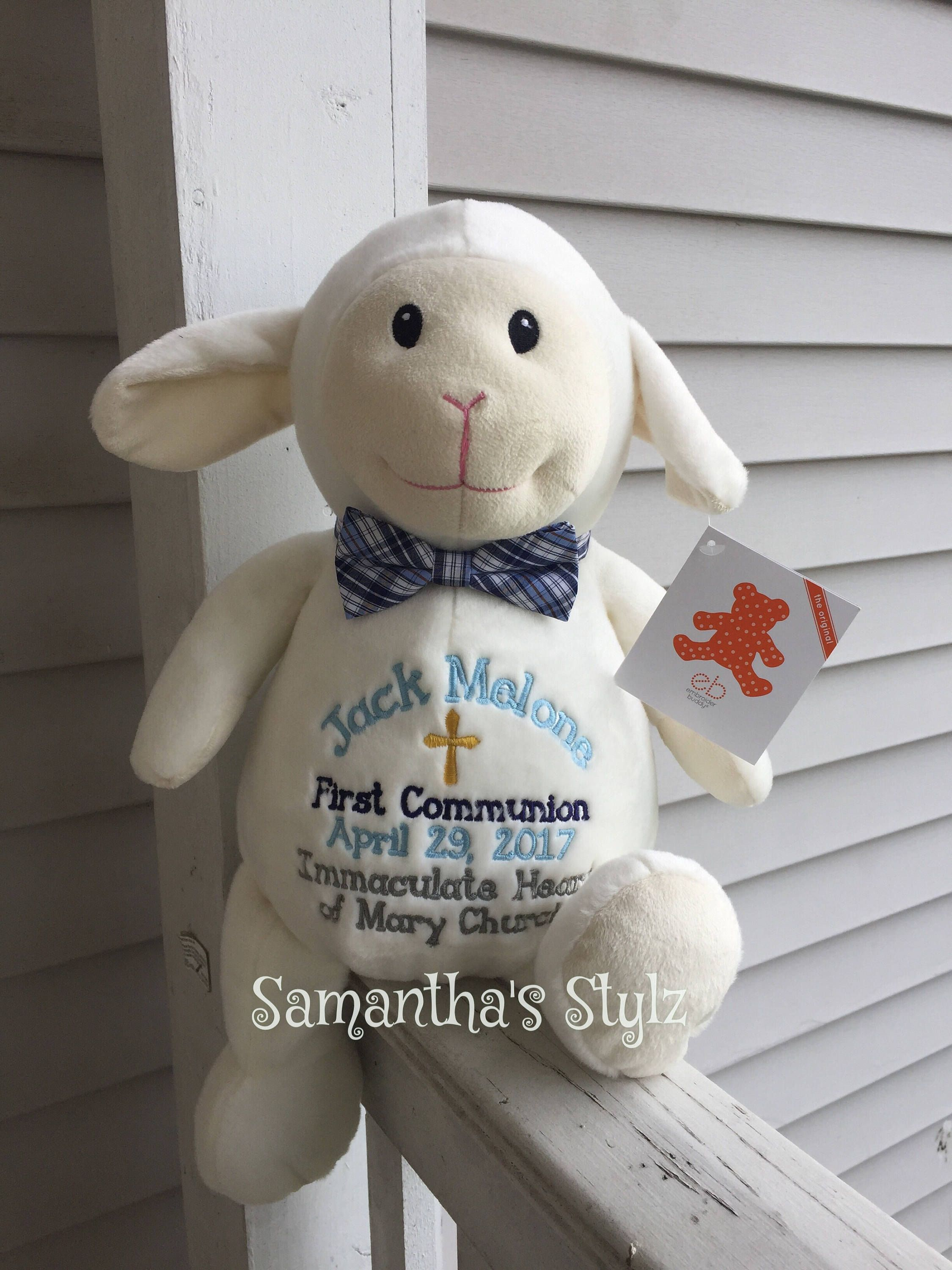 Personalized stuffed lamb adoption gift first communion gift personalized stuffed lamb adoption gift first communion gift baptism gift stuffed animal personalized baby gift shower gift negle Images