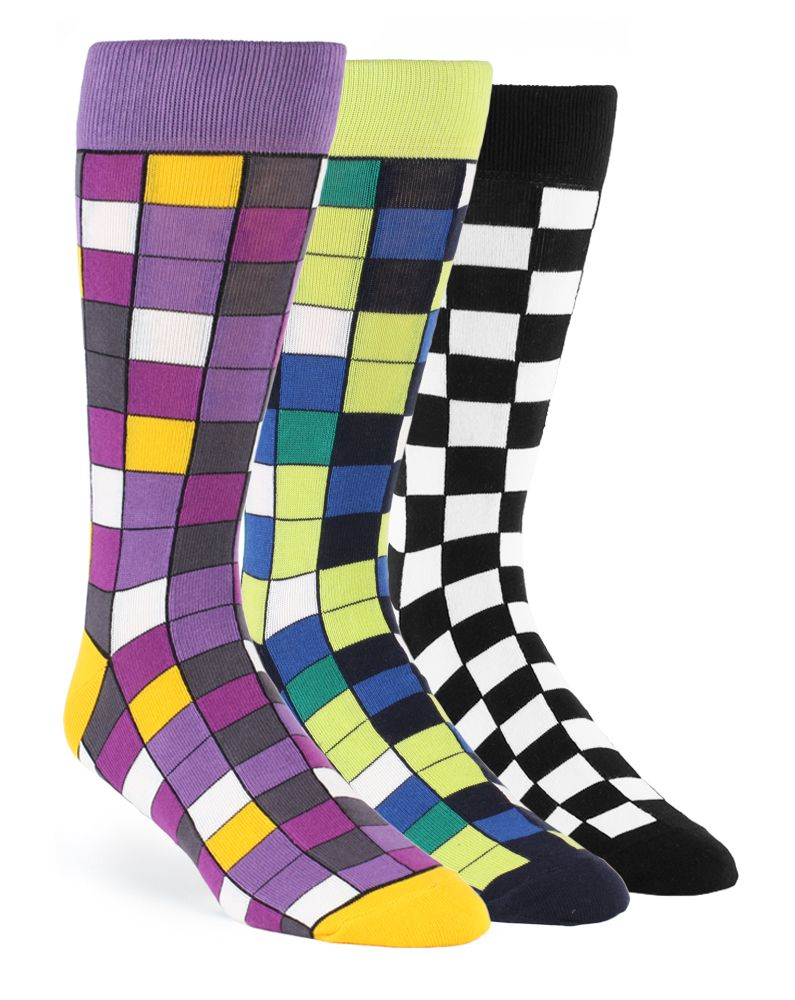 Purple dress socks  Statement Sockwear Checkered sock design featuring sangria purple