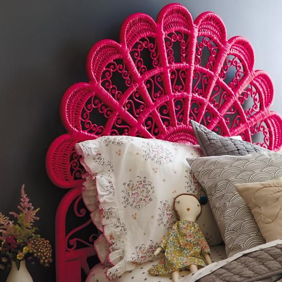 Princess Plume Woven Headboard Hot Pink In Beds The