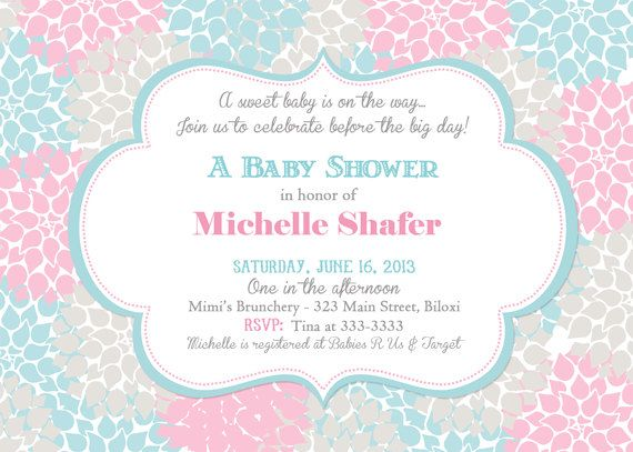 Modern Floral Blue Pink and Grey Baby Shower Invitation