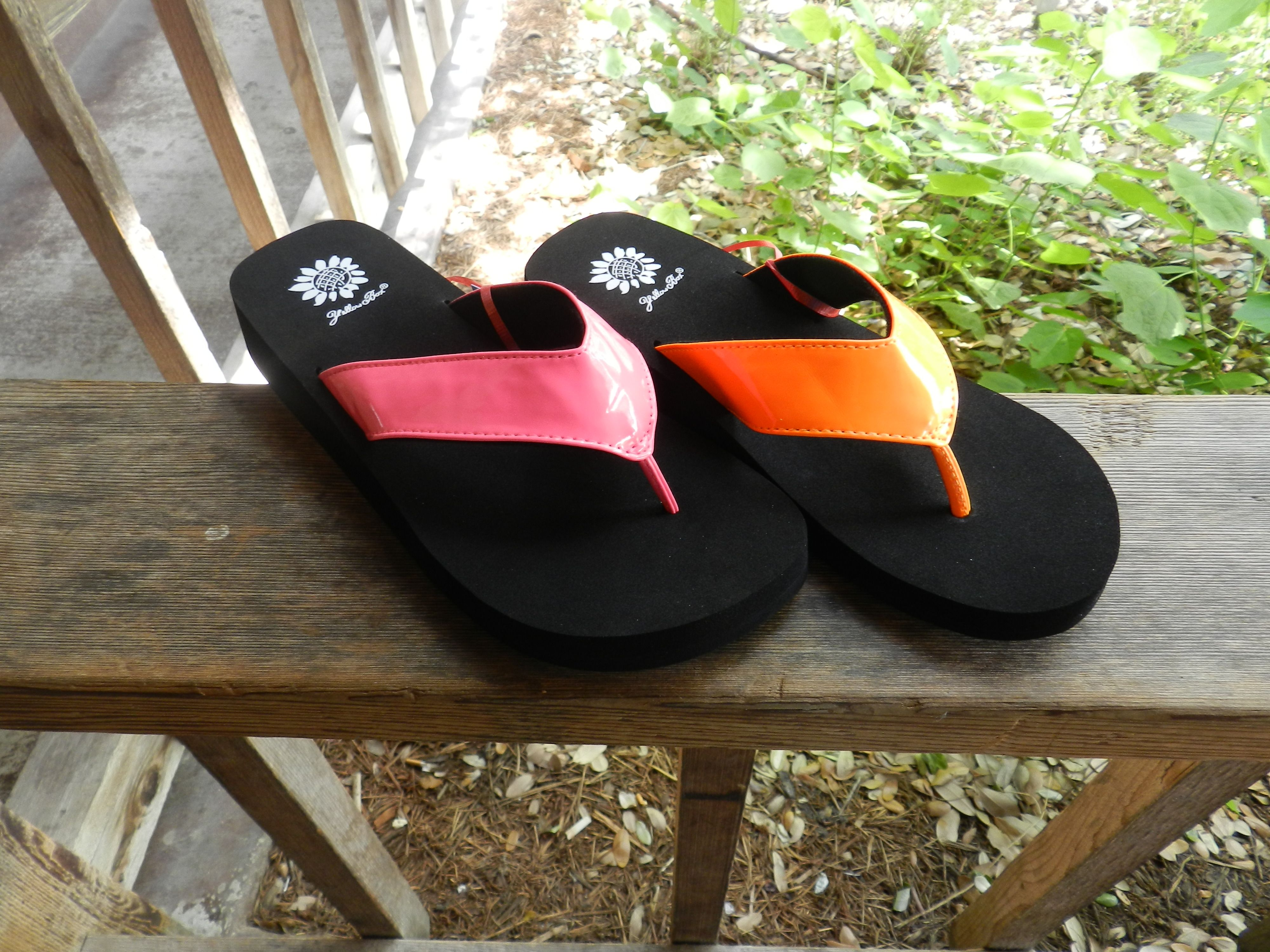 85fc9dccffde Great Pink and Orange Yellow Box Flip Flops | Pookie Jane's Boutique ...