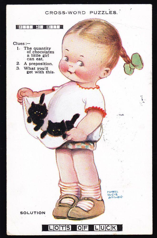 Mabel Lucie Attwell Crossword Puzzles Postcard Vintage Illustration Vintage Postcards Mabel